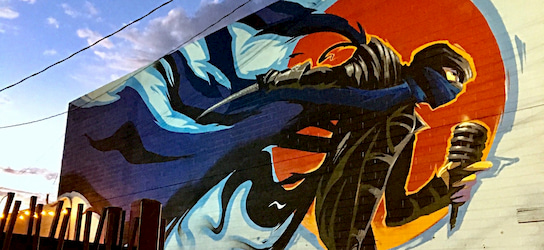 exterior ninja mural in The Las Vegas Arts District
